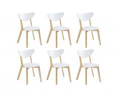 Lot de 6 chaises CARINE - Hévéa massif et MDF - Blanc