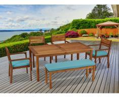 Salle à manger de jardin KOCHI en acacia: une table, un banc 2 places, 4 fauteuils