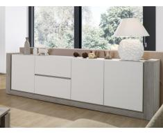 Buffet MICHIGAN - 3 portes & 2 tiroirs - Blanc & Chêne