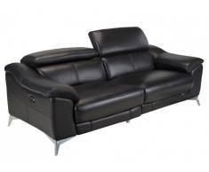 Canapé 3 places relax électrique en cuir DALOA - Noir