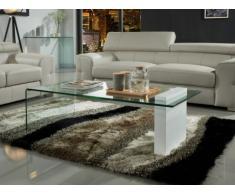 Table basse MANDY - Verre courbé & MDF laqué blanc