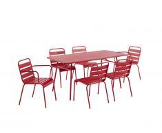 Salle à manger de jardin MIRMANDE en métal: une table L.160 cm avec 2 fauteuils empilables et 4 chaises empilables - Rouge