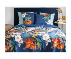 Parure de lit en percale de coton FLOWERY - housse de couette 240 x 260 cm + 2 taies d'oreiller 63 x 63 cm - multicolore
