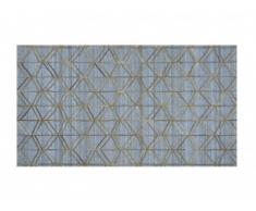 Tapis poils ras LINDIS - Cuir et viscose - 160 x 230 cm - Gris et doré