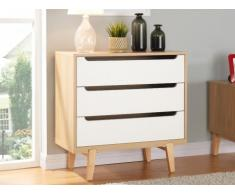 SOLDES - Commode TABY - 3 tiroirs - MDF Blanc & naturel - Pieds chêne