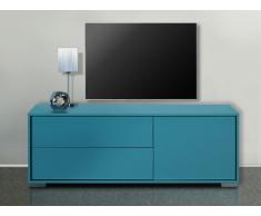 Meuble TV KIRA - 1 porte & 2 tiroirs - Bleu