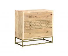 Commode style vintage ALIX - 3 tiroirs - Bois de manguier et métal doré