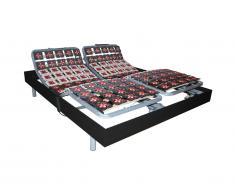Sommier de relaxation 2x65 plots déco bois noir de DREAMEA - 2x80x200cm - moteurs OKIN