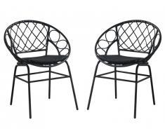 Lot de 2 chaises de jardin empilables SOUGIA en résine tressée - Noir