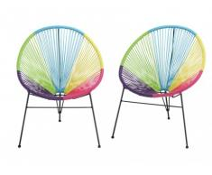 Lot de 2 chaises de jardin ALIOS II en fils de résine tressés - multicolore