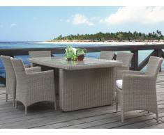 Salle à manger de jardin KUOPIO en résine tressée beige : table, 6 fauteuils