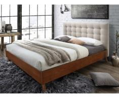 Lit FRANCESCO tête de lit capitonnée - 160x200cm - Tissu beige et bois