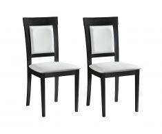 Lot de 2 chaises CALISTA - PVC & Hêtre - Coloris : Wengé et blanc
