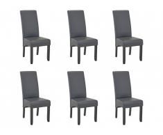 Lot de 6 chaises ROVIGO - Simili gris mat - Pieds bois noir