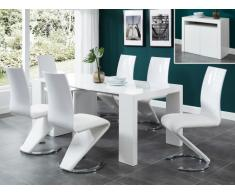 Console extensible ZENITH - avec buffet intégré - 6 couverts - 3 rallonges - Laqué blanc
