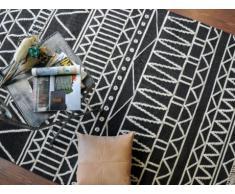 Tapis GRIGORI - 100% Laine - 160*230 cm - Noir et blanc