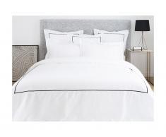 Parure de lit en percale de coton avec broderie CHARMY - housse de couette 240 x 260 cm + 2 taies d'oreiller 63 x 63 cm - blanc et anthracite