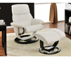 Fauteuil de relaxation et son repose pieds MYOSOTIS - Blanc ivoire
