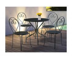 Salle à manger de jardin en fer forgé GUERMANTES: une table et 4 chaises anthracites