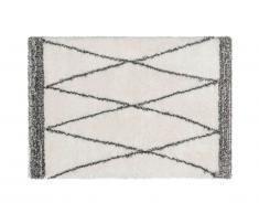 Tapis shaggy style berbère HANIA - Polyester - 120 x 170 cm - beige et gris