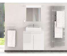 Meubles de salle de bain LAVITA II suspendus avec simple vasque et miroir - Blanc