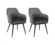 Lot de 2 chaises avec accoudoirs ELEANA - Velours & Métal Noir - Gris