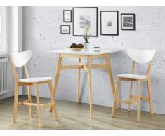 Pack salle à manger: Ensemble table haute + 2 tabourets CARINE - Hévéa massif & MDF - Blanc