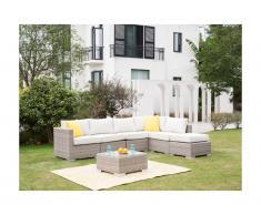 Salon de jardin modulable BUSAN en résine tressée: canapé 5 places, un pouf et une table basse