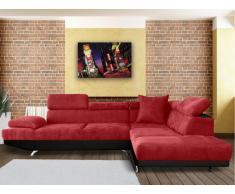 Canapé d'angle XL en tissu et simili ROMAIN - Rouge/Noir - Angle droit