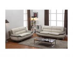 Canapé 3+2 places en cuir THOMAS - Bicolore ivoire et gris