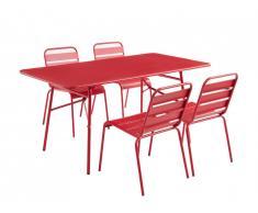 Salle à manger de jardin MIRMANDE en métal - une table L.160cm et 4 chaises empilables - Rouge