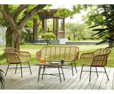 Salon de jardin NOSARA en résine tressée beige: un canapé 2 places, 2 fauteuils et une table basse - Assise noire