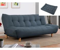 Canapé clic-clac 3 places en tissu VINCENT - Bleu