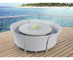 Salle à manger de jardin RIO GRANDE en résine tressée blanche : une table, 2 bancs et 4 chaises