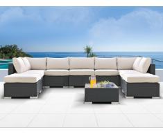 Salon de jardin ALANDA en résine tressée: canapé panoramique 7 places, 2 poufs et une table basse - anthracite