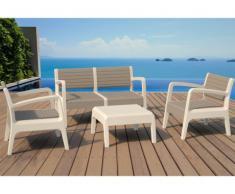 Salon de jardin MIALI en PVC : 2 fauteuils, un canapé 2 places, une table basse - structure beige assise taupe