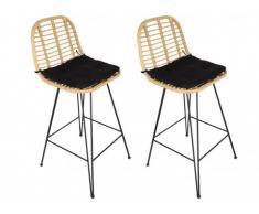Lot de 2 chaises de bar de jardin NOSARA en résine tressée - Assise noire