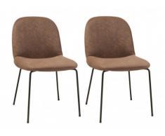 Lot de 2 chaises MARTHE - Tissu aspect cuir vieilli - Chocolat