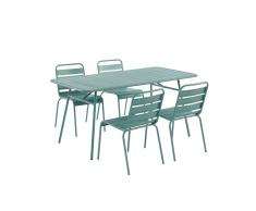 Salle à manger de jardin MIRMANDE en métal: une table L.160 cm et 4 chaises empilables - Vert amande