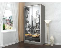 Armoire avec impression New-York CITADINE - 2 portes coulissantes - L.120 cm