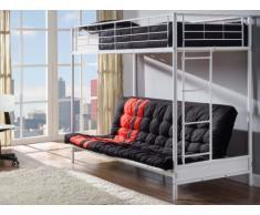 Pack MODULO IV - Lit mezzanine blanc 90x190cm et son futon noir et rouge 135x190cm