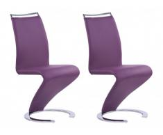 Lot de 2 chaises TWIZY - Simili Prune