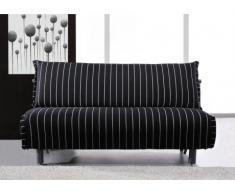 Canapé convertible tissu DALTON - Rayé noir et blanc