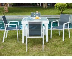 Salle à manger de jardin SALYAN en aluminium - une table extensible 90/180cm + 4 fauteuils - Assise anthracite