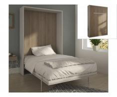 Lit escamotable EUGENIA ouverture verticale automatique - 160x200cm - Blanc/Chêne