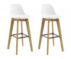 Lot de 2 tabouret de bar PADDY - Polypropylène, simili & chêne - Blanc