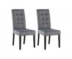 Lot de 2 chaises VILLOSA - Tissu gris & Pieds bois noir