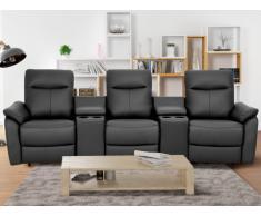 Canapé 3 places relax électrique en cuir supérieur HOBRO - Anthracite