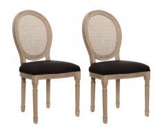 Lot de 2 chaises MARIE-ANTOINETTE en cannage - Tissu & Bois d'Hévéa - Noir