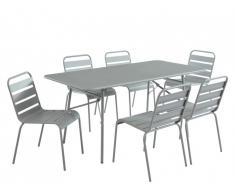 Salle à manger de jardin MIRMANDE en métal - une table L.160cm et 6 chaises empilables - Gris